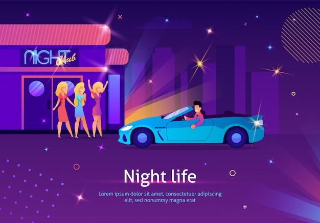 Chicas esperando al hombre en carro cerca del club nocturno.