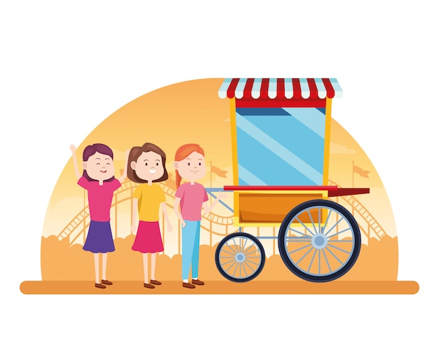 Chicas felices de dibujos animados en el carrito de palomitas de maíz