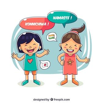 Chicas felices hablando distintos idiomas dibujado a mano
