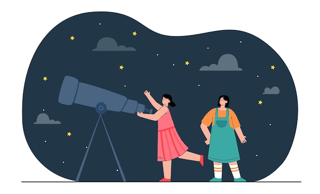 Chicas felices mirando estrellas a través del telescopio. gente de sexo femenino que estudia la ilustración plana de la astronomía