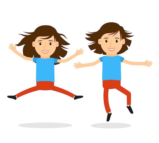Chicas felices saltando