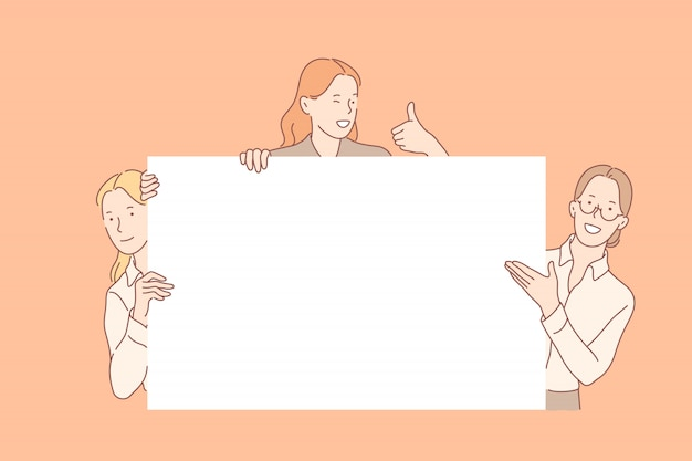 Chicas con gran concepto de banner vacío