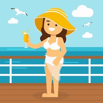 Chicas guapas en bikini navegando en el yate en verano.
