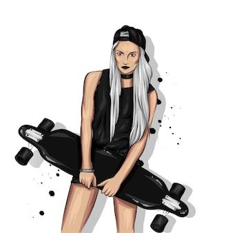 Chicas guapas en blusas y pantalones cortos con patineta. ilustración para una postal o un cartel.