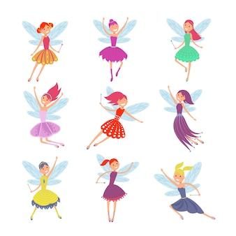 Chicas de hadas volando con alas de ángulo vector conjunto de caracteres