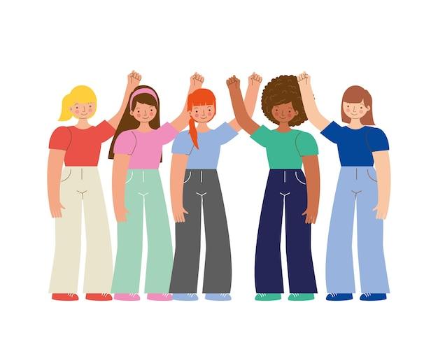 Chicas jóvenes con brazos arriba aislados sobre fondo blanco. ilustración