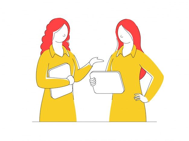 Chicas jóvenes de dibujos animados hablando entre sí en blanco