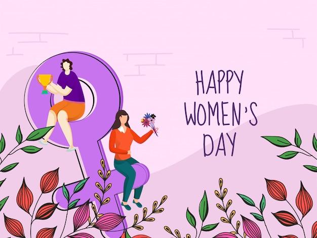Chicas jóvenes de dibujos animados con ramo de flores con trofeo y coloridas hojas decoradas sobre fondo rosa para el día de la mujer feliz.