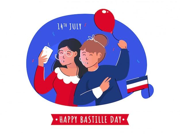 Chicas jóvenes de dibujos animados tomando selfie junto con un globo y una bandera de francia sobre fondo abstracto para el 14 de julio, feliz día de la bastilla.