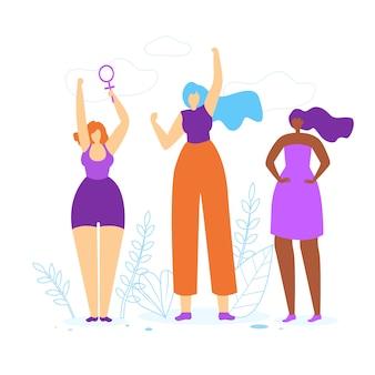Chicas jóvenes con las manos arriba. idea de empoderamiento de la mujer