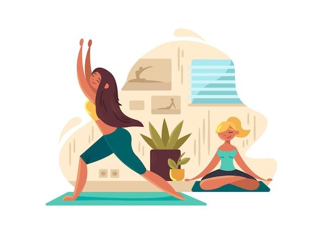 Chicas jóvenes practicando yoga. meditación y concentración mental. ilustración vectorial