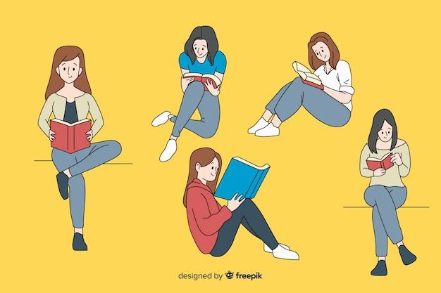 Chicas leyendo en estilo de dibujo coreano