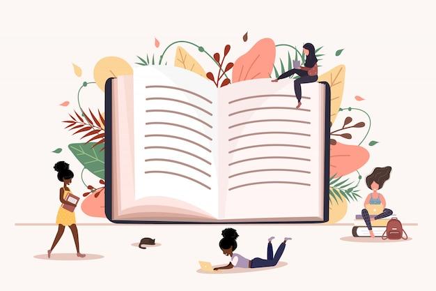 Chicas leyendo un libro en sus manos. estudiantes inteligentes examen. ilustración de vector moderno en estilo plano.