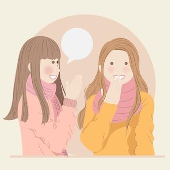 Chicas lindas charlando mientras beben bebidas