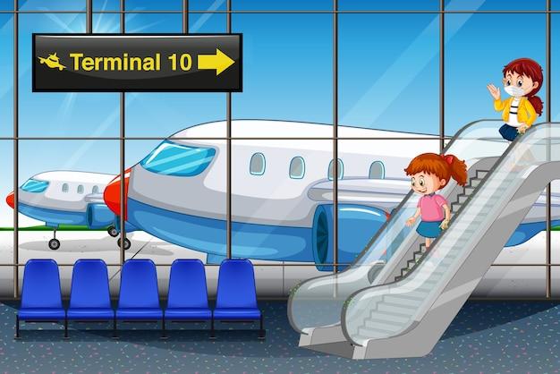 Chicas llegando al aeropuerto