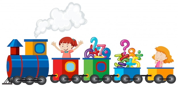 Chicas montando un tren con número de matemáticas