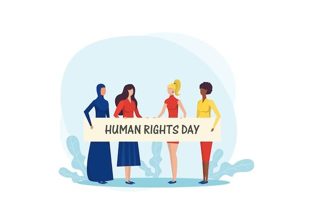 Chicas sosteniendo pancartas. lucha por la libertad en el día internacional de los derechos humanos