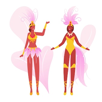 Chicas vistiendo trajes de fiesta con alas de plumas bailando. ilustración plana de dibujos animados