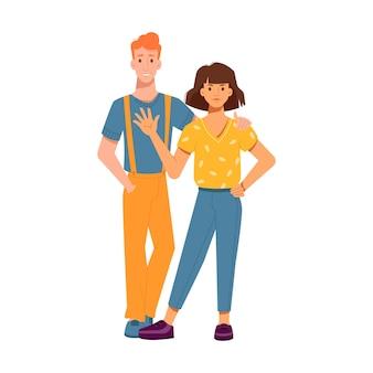 Chico abraza a chica por hombro chica agitando la mano y saludando a personas personajes aislados en flatcartoon