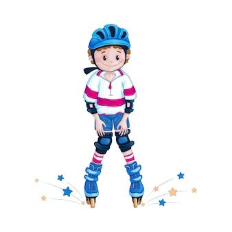 Chico adolescente en una rodilla de casco aprende a montar patines