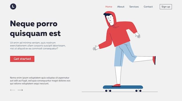 Chico adolescente, skateboarding