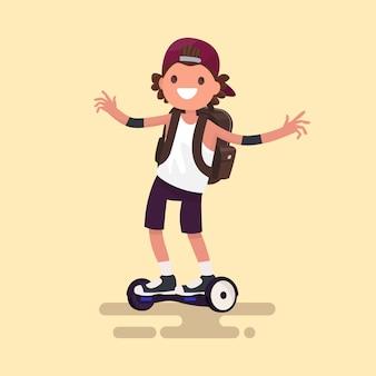 Chico alegre monta en ilustración de gyroscooter