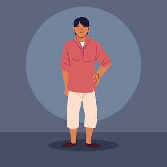 Chico asiático joven con ropa casual