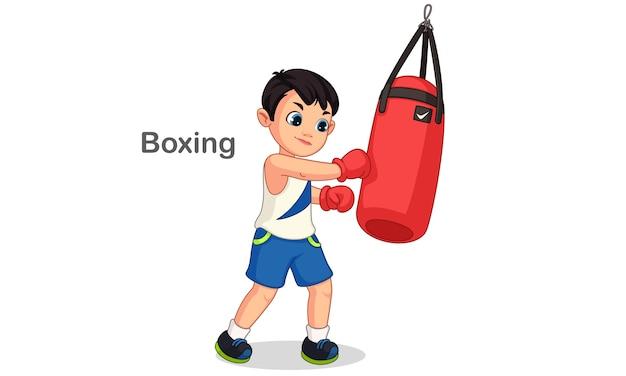 Chico de boxeo con ilustración de saco de boxeo