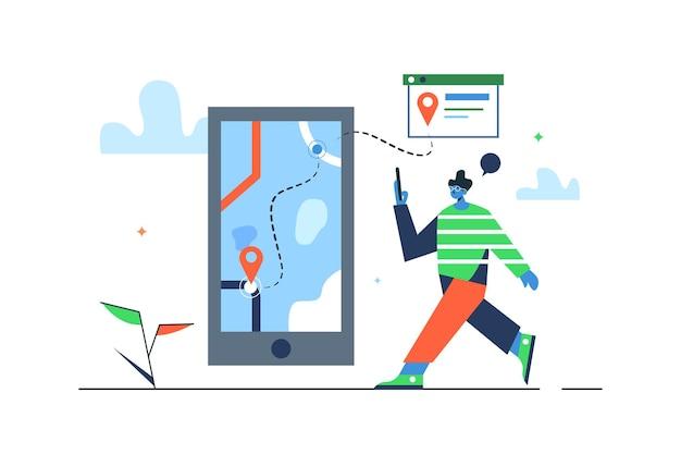 Chico caminando con teléfono móvil en navegación, gran teléfono móvil con mapa y gps aislado sobre fondo blanco, plano