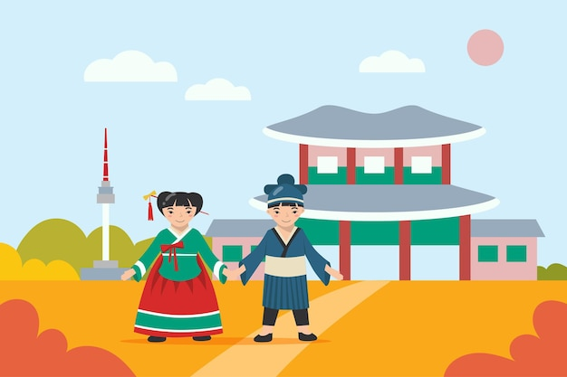 Chico y chica asiáticos en ropas tradicionales cogidos de la mano