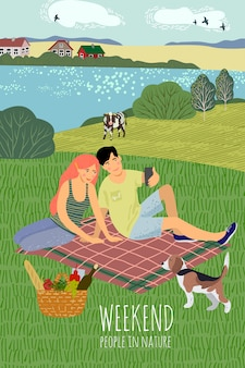 Un chico y una chica descansando en la naturaleza