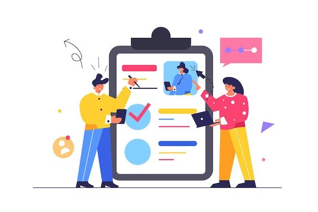 Un chico y una chica llenan documentos en una carpeta grande, una tableta con un clip, un chico con un bolígrafo llenan documentos, una chica con una computadora portátil en las manos aisladas sobre fondo blanco, ilustración plana