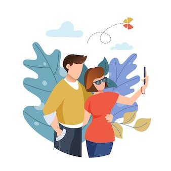 Chico y chica tomando selfie en un teléfono inteligente. hojas . pareja enamorada. ilustración plana