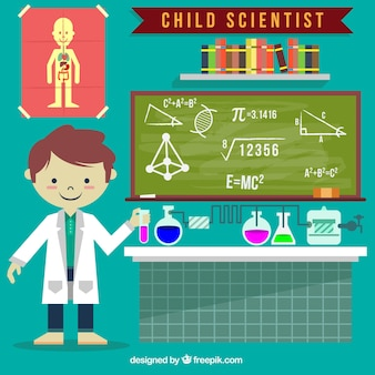 Chico científico con accesorios de ciencia dibujados a mano
