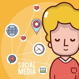 Chico con iconos de redes sociales