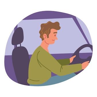 Chico conduciendo coche