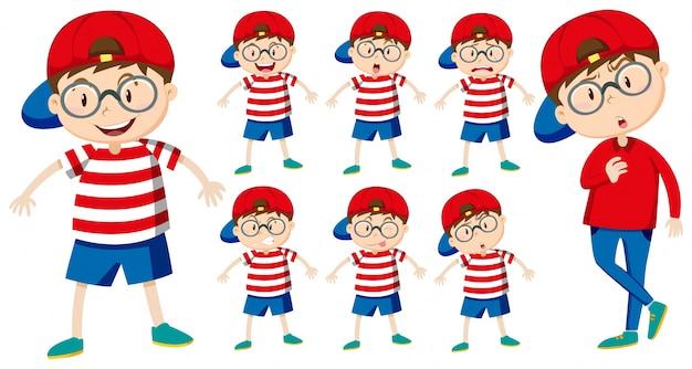 Chico con diferentes emociones ilustración