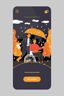 Chico discapacitado y asistente caminando bajo la lluvia en la aplicación móvil
