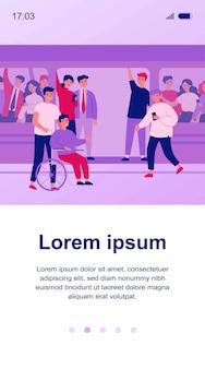 Chico discapacitado y su ayudante viajando en metro ilustración