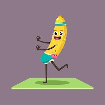Chico divertido plátano en pose de yoga. fruta de dibujos animados lindo con personaje de jugador y auriculares aislado en un fondo.