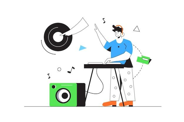 Chico dj tocando música en rack con paneles, columna, placa aislada sobre fondo blanco, ilustración plana