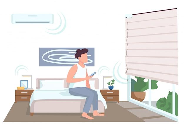 Chico en elegante dormitorio color plano personaje sin rostro. joven con teléfono inteligente control de persianas. las innovaciones de la vida doméstica aislaron ilustración de dibujos animados para diseño gráfico web y animación