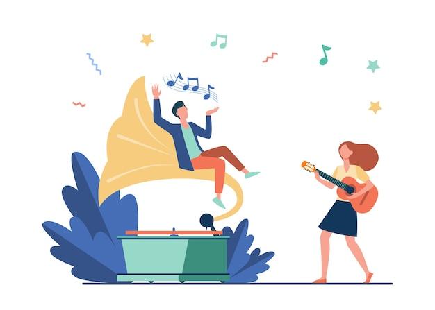 Chico escuchando música en un gramófono retro. chica tocando la guitarra y cantando ilustración vectorial plana. entretenimiento, interpretación, concepto de ocio.