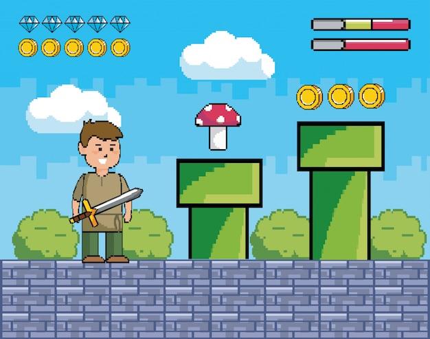 Chico con espada y tubos con hongos y monedas.