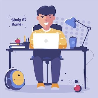 Chico estudiando en línea