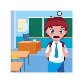 Chico estudiante con útiles escolares en el aula, regreso a la escuela
