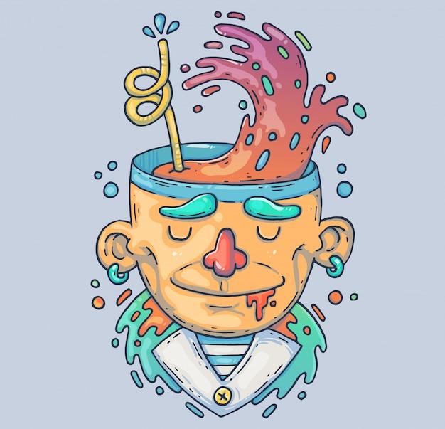 Chico extraño con un cóctel en la cabeza. ilustración de dibujos animados carácter en el estilo gráfico moderno.
