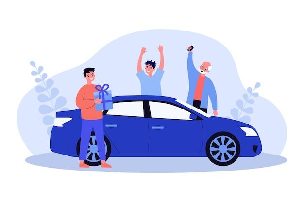 Chico feliz consiguiendo coche como regalo de cumpleaños. vehículo, amigo, abuelo ilustración vectorial plana