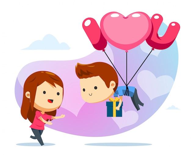 Un chico flotante con globo y una chica lista para atrapar.