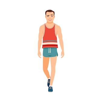 Chico fuerte en camiseta y pantalones cortos